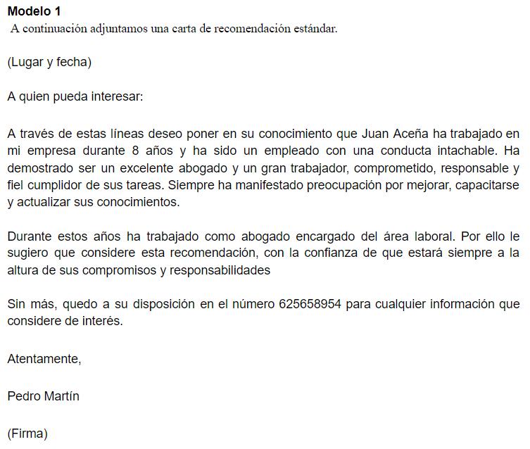 Carta de recomendación laboral 1
