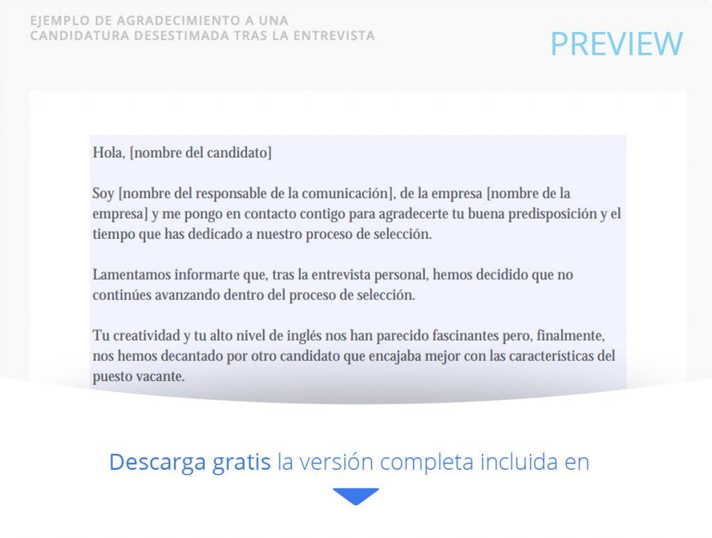 CARTA AGRADECIMIENTO A UNA CANDIDATURA DESESTIMADA TRAS UNA ENTREVISTA DE TRABAJO