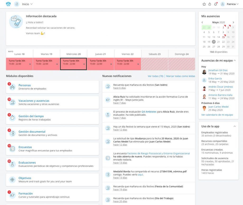 Portal del empleado para recursos humanos