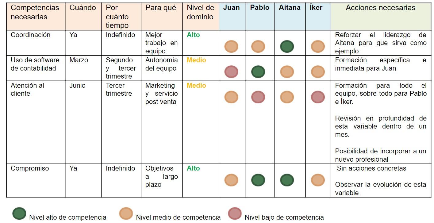 Matriz de competencias ejemplo